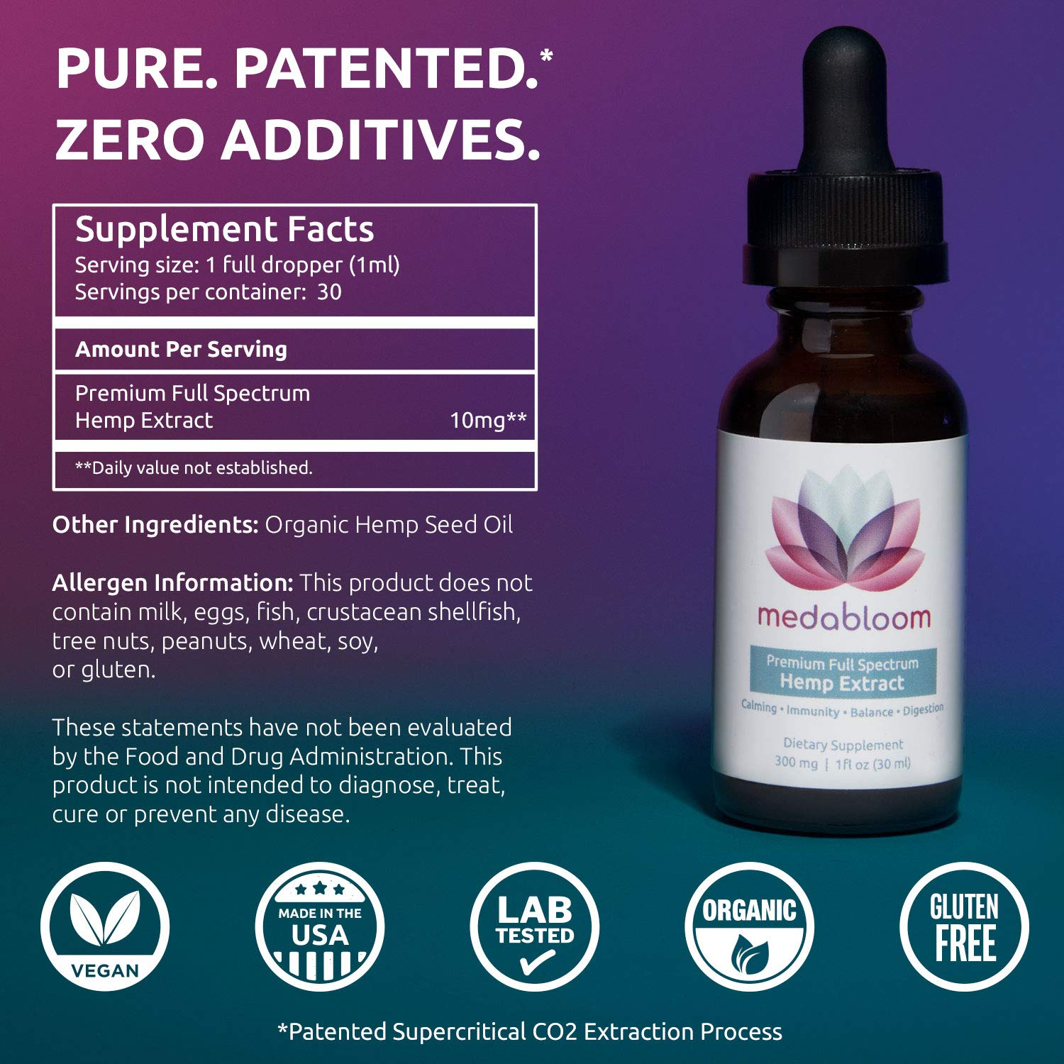 Medabloom Hemp Oil - 300mg of REAL, PURE, POTENT Full Spectrum Hemp Extract  - Pain Relief, Anti
