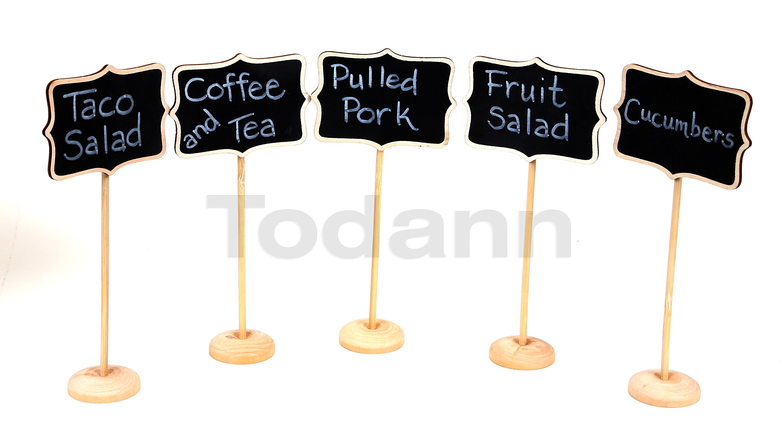 10 Piece Mini Rectangle Chalkboard Stands / Signs, White Liquid Chalk Pen & Erasing Sponge, use for Weddings, Parties, Table Numbers or Place Cards by Todann (Image #4)