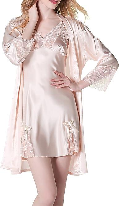 Sidiou Group Conjunto Bata y Camiso Saten Bata y Pijama Mujer Kimono Bata de Satén Lencería Kimono Del Cordón Satén Bata Albornoz Camisón