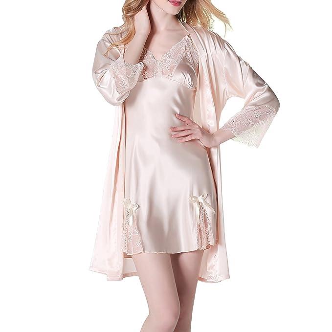 Sidiou Group Conjunto Bata y Camiso Saten Bata y Pijama Mujer Kimono Bata de Satén Lencería