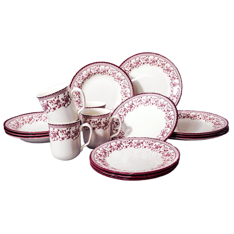 Tudor 16-Piece Porcelain Dinnerware Set, Service for 4 - ASTER PINK,Overstock OFFER;See 10 DESIGNS Inside!