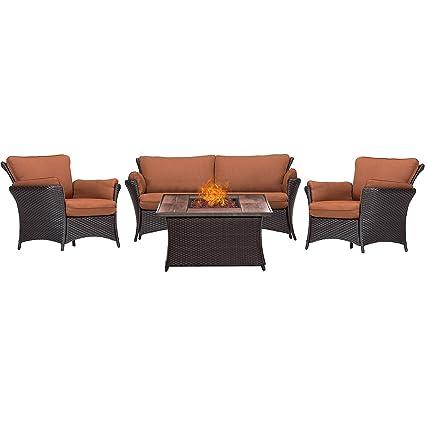 Excellent Amazon Com Hanover Strallr4Pcfp Rst Wg 4 Piece Strathmere Ibusinesslaw Wood Chair Design Ideas Ibusinesslaworg