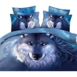 Alicemall Twin 3D Wolf Bedding Deep Blue Unique 3D Wolf Oil Painting Bedding Set 4 Pieces Blue Duvet Cover Set Wolf Print Bedroom Sheets Set (Twin, Blue)