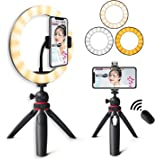 Desk Ring Light with Phone Tripod Stand Kit: Yingnuost 10'' Selfie Circle Lights & Camera/iPhone Holder with Bluetooth…