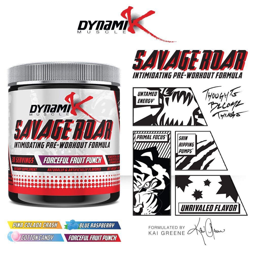 Savage Roar Dynamik Muscle Pre Workout Formulated Suplemen The Curse Cobralabs By Kai Greene Forceful Fruit Punch 315 Grams Health Personal Care