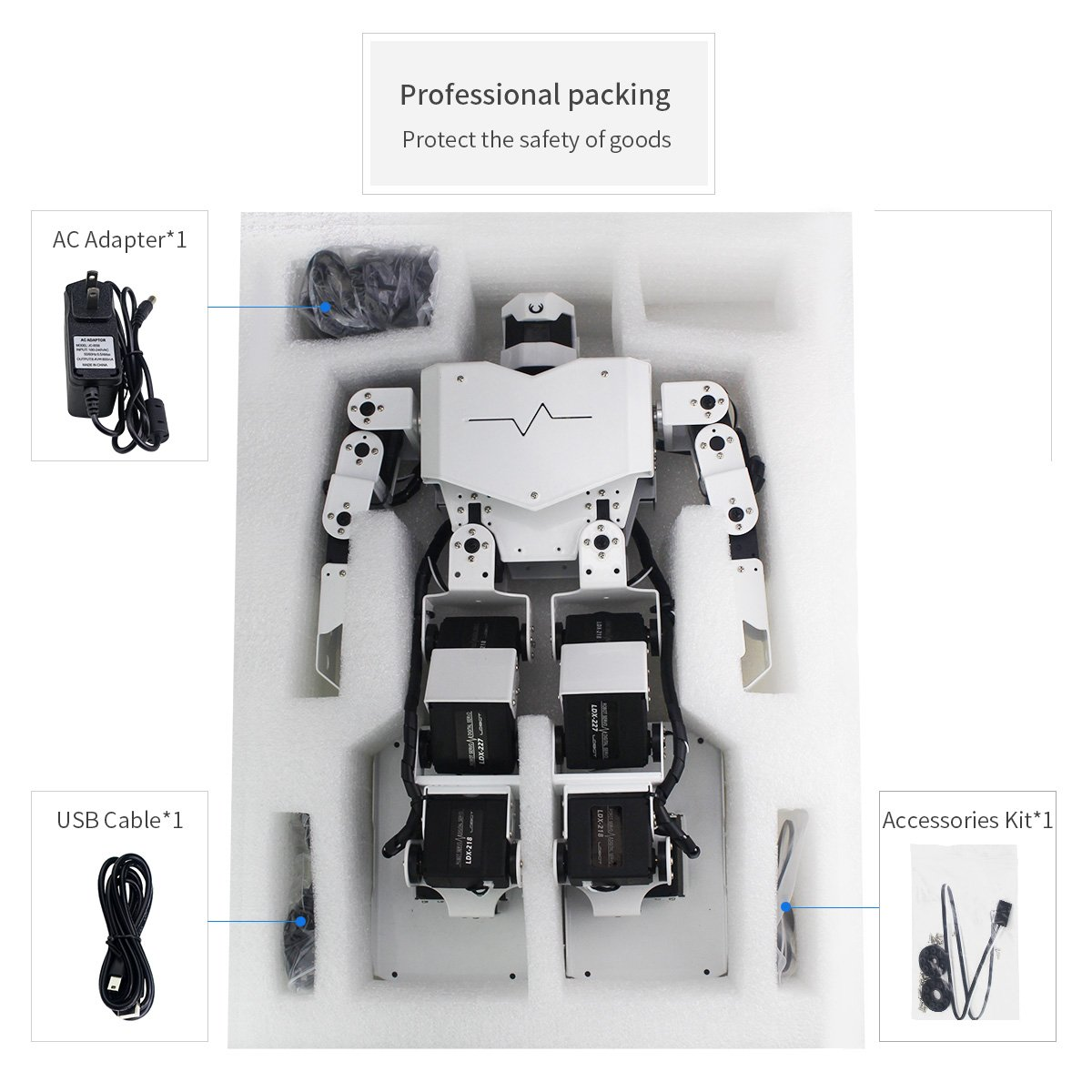 Hiwonder H3S 16DOF Biped Humanoid Robot Kit with Free APP, MP3 Module, Detailed Video Tutorial Support Sing Dance(Assembled) by LewanSoul (Image #3)
