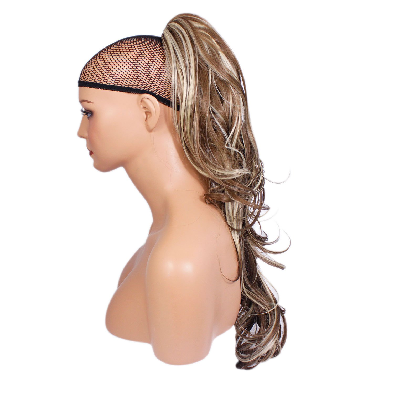 Elegant Hair - 22 PONYTAIL - Style: FLICK - Ash Brown/Blonde Mix #10/613 - REVERSIBLE 2 Styles in 1 - Clip in Hair Piece Extension - Claw Clip Attachment - Weight 250g by Elegant Hair