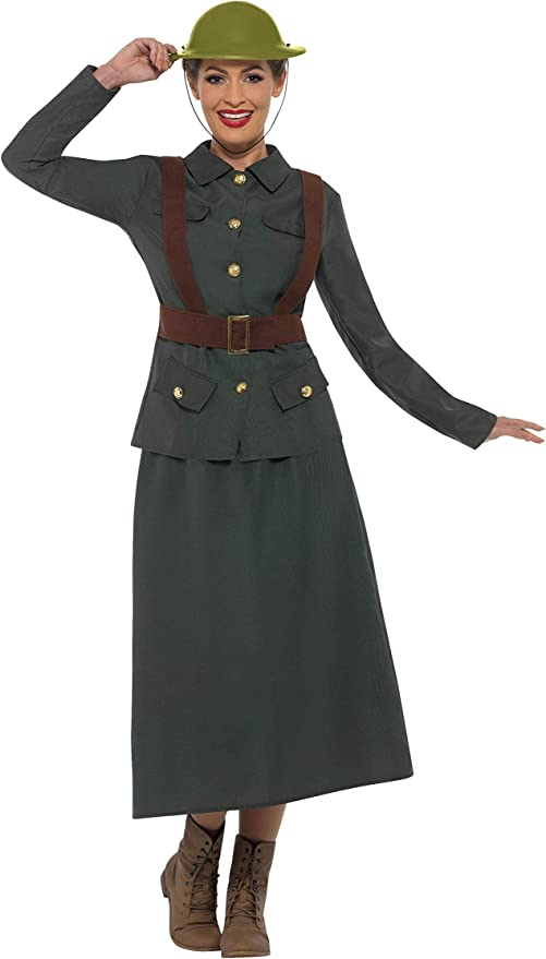 1940s Costumes- WWII, Nurse, Pinup, Rosie the Riveter Smiffys WW2 Army Warden Lady Adult Costume $55.79 AT vintagedancer.com