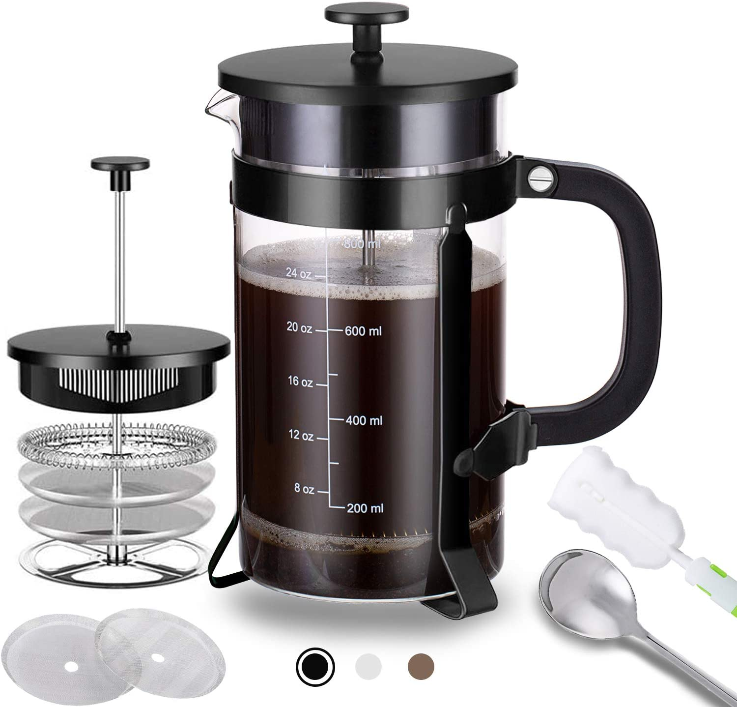French Press Coffee Maker with 4 Filters - 304 Durable Stainless Steel - Heat Resistant Borosilicate Glass Coffee Pot Percolator, Single Serving Coffee Maker, 34 oz, Black