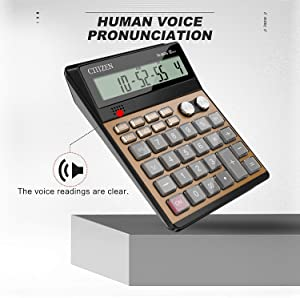 Electronic Calculator,Voice Calculators Electronic Desktop Calculator with 12-Digit Large Display (Golden)