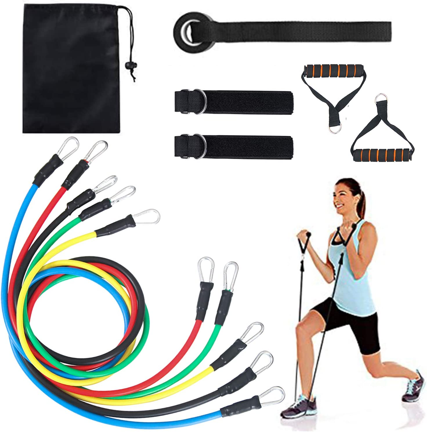 DiaryLook Exercise Resistance Bands with Handle Set,Stretch Fitness Bands for Home GYM,17 Pack Workout Equipment with 2 Threaded Anti-Slip Handle 1 Door Anchor 2 Adjustable Ankle Straps and Carry Bag