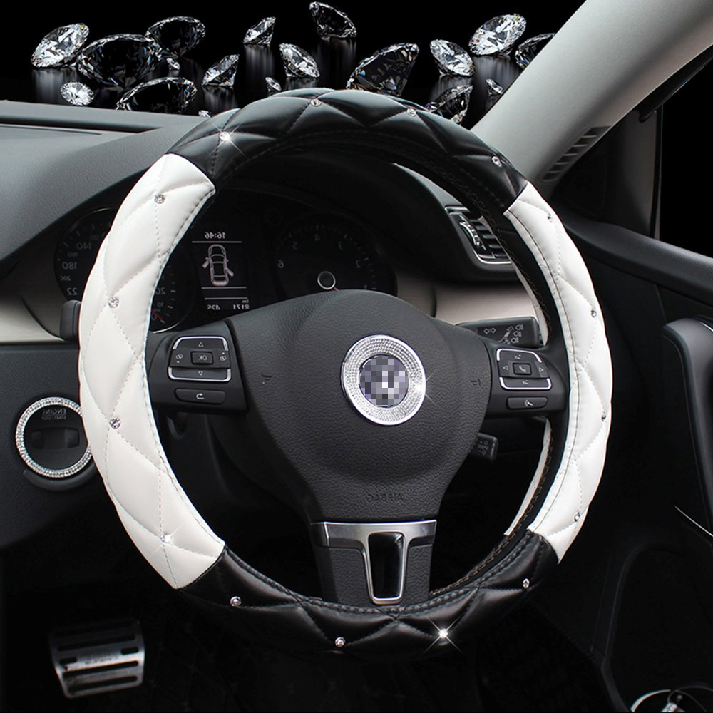 Car Steering Wheel Covers, Seamong 38CM/15 Universal Soft With Rhinestone Steering Wheel Cover for Women/Girls/Ladies-Black