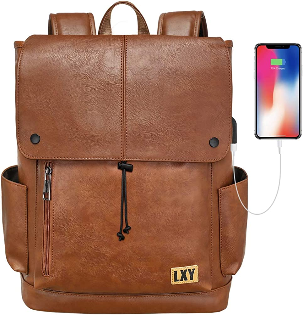 Faux Leather Backpack Women Men USB Port Laptop Bookbag Travel Backpack Daypack