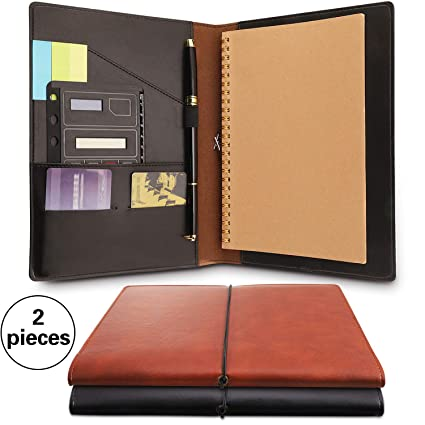 cd47fc1745ae 2 Pieces Notepad Cover for Rocketbook Fake Leather Journal Notebook Cover  Refillable Notebook Covers with Pen Holder and Pockets,Suitable Size for 6  x ...