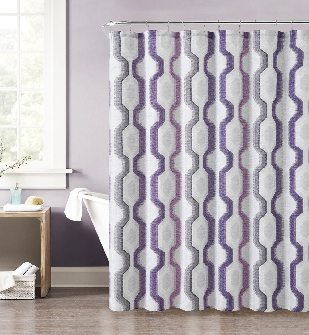 Amazon Purple Gray Pink And Taupe Fabric Shower Curtain With Printed Vertical Geometric Design 72 X Home Kitchen