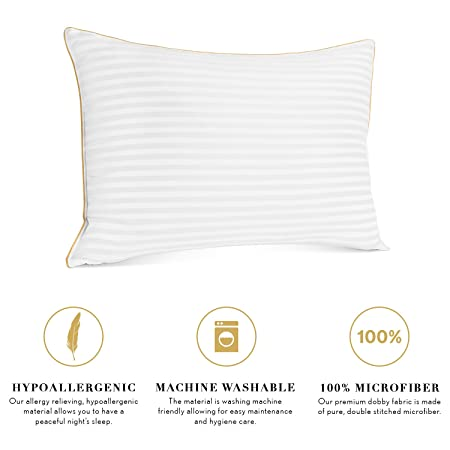 amazoncom italian luxury plush gel pillows 2pack premium quality luxury hotel collection u0026 dust mite resistant queen home u0026
