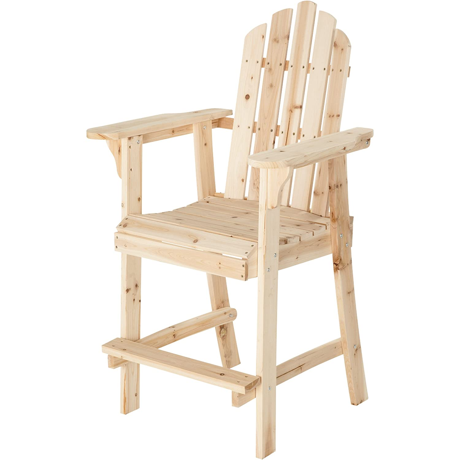 Amazon.com : Tall Unfinished Fir Wood Adirondack Chair : Bar Height Adirondack  Chairs : Garden U0026 Outdoor