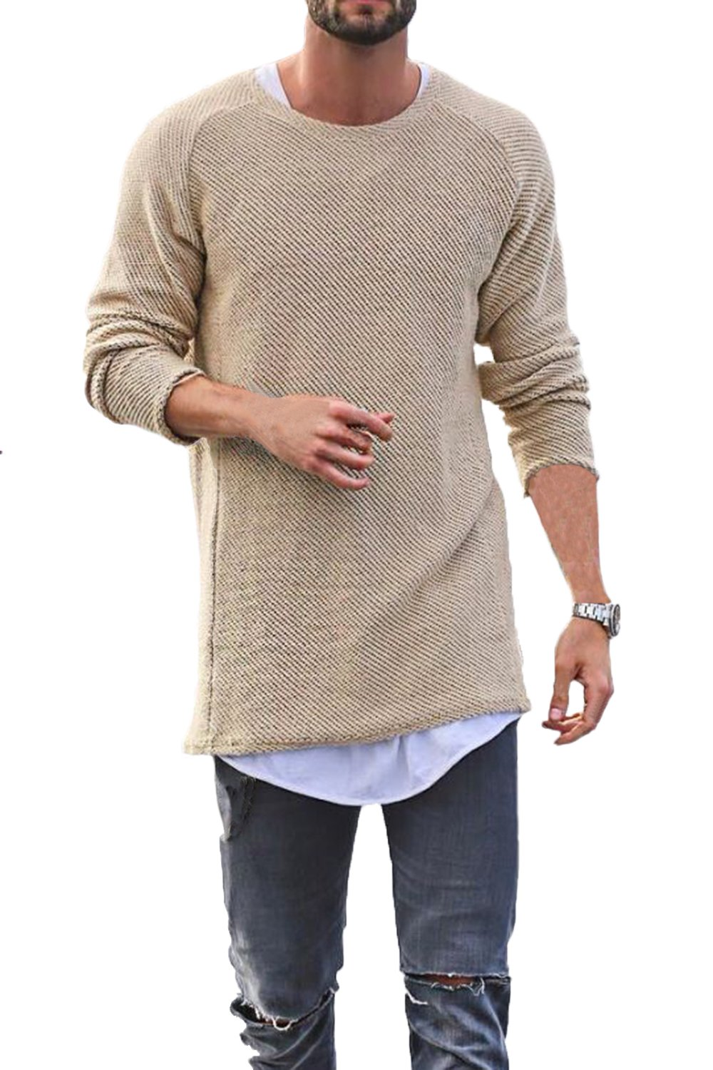 Men's Fashion Leisure Round Neck Baggy Long Sleeve Hip-Hop Solid Color Knit Sweaters