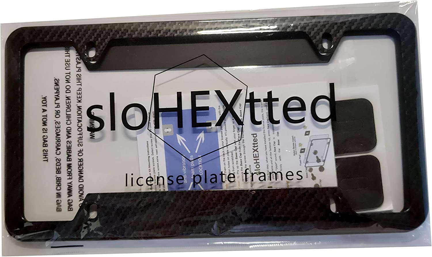All-wearther Black Aluminum Metal Plate Holders for Front /& Rear License Tags License Plate Frames Cabon Fiber 2Pcs 4 Holes-US Standard Cars License Plate Covers