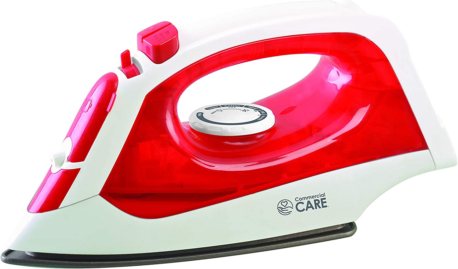 Commercial Care 1200 Watts Steam Iron, Red