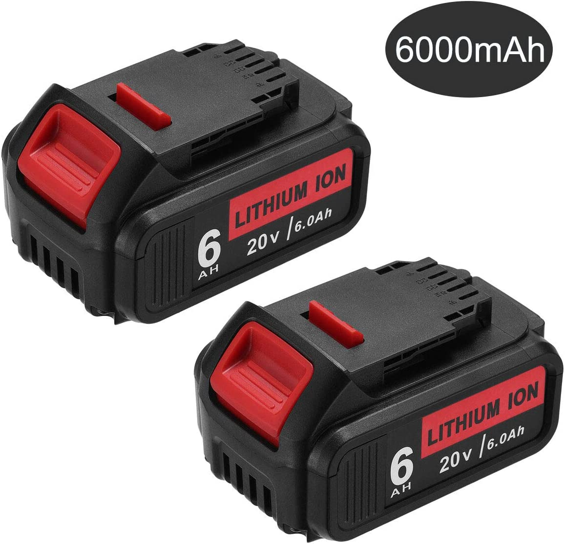 Dutyone 2Pack 6000mAh Battery Replacement for Dewalt 20V Max DCB204 DCB205 DCB206 DCB205-2 DCB200 DCB180 DCB184 DCD985B DCD771C2 DCS355D1 DCD790B Lithium ion Batteries