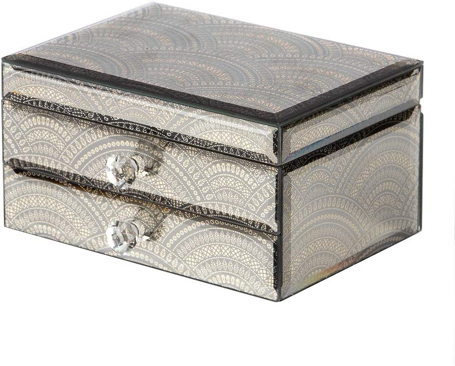 Jofave Mirrored Jewelry Box for Women,High-end Glass Jewelry Organizer with Drawers,Watch and Earring Organizer etc (Greek Pattern) … …