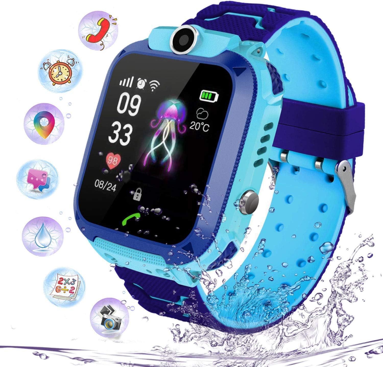PTHTECHUS Niños Smartwatch Impermeable, Reloj Inteligente Phone con LBS Tracker SOS Chat de Voz Cámara Despertador Juego Cálculo para Regalos Estudiantes Compatible con iOS Android, (Azul)