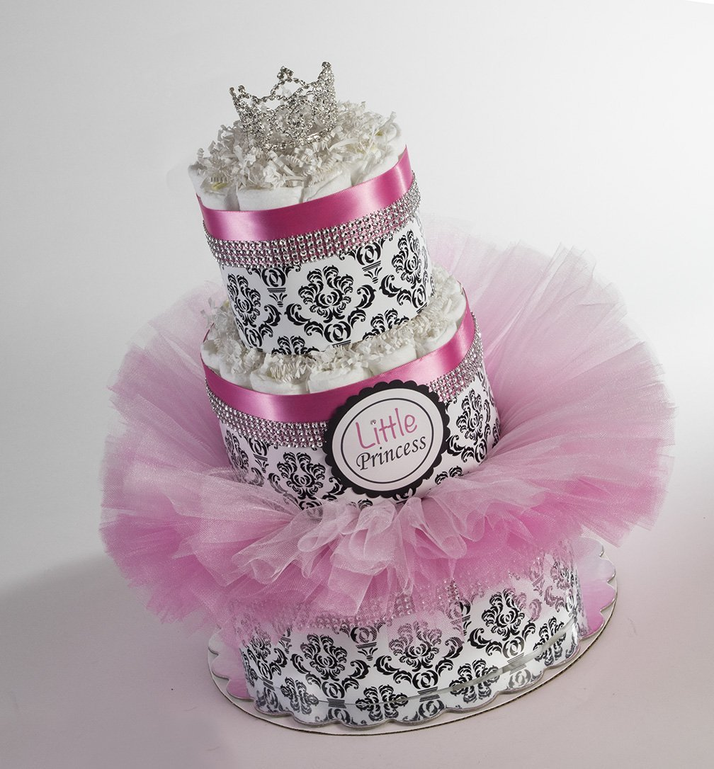The ''Little Princess'' Diaper Cake with Tutu and Crown for Newborn. Baby Shower Centerpiece or Gift.