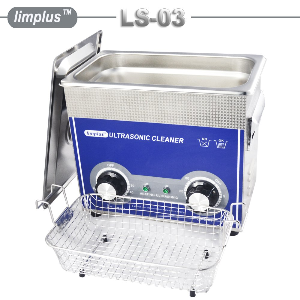 limplus Dental Ultrasonic Cleaner 3liter 40kHz Ring Bath Jewelry Eyeglasses Knob Control Timer Industrial Cleaning Equipment by limplus (Image #5)