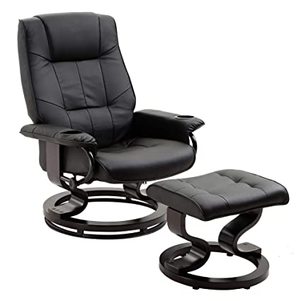 Superb Leather Recliner And Ottoman Living Room Chair Set With Swiveling Mahogany Wood Base And Two Cup Holders Black Squirreltailoven Fun Painted Chair Ideas Images Squirreltailovenorg