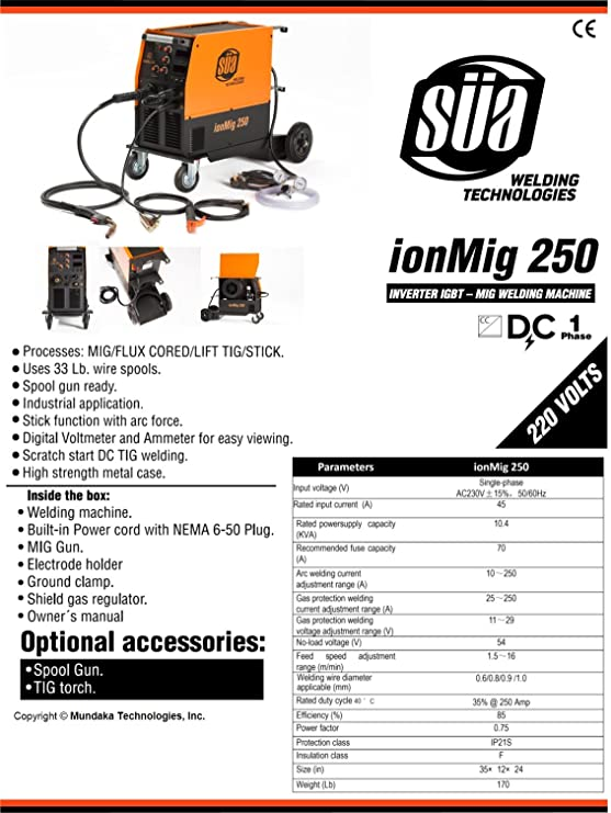 SÜA ionMig 250 IGBT MIG Welding Machine 220 V FLUX CORED/Lift TIG/STICK - - Amazon.com