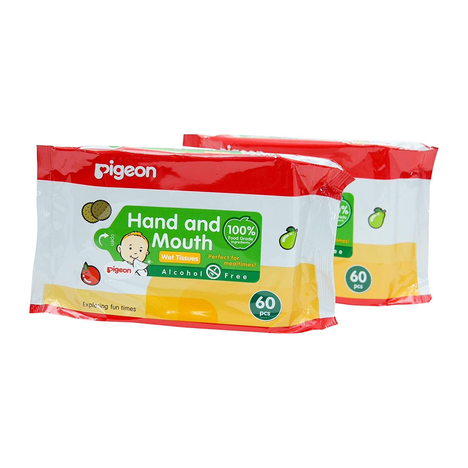 Baby Wipes, pigeon Baby Wipes Hand and Mouth Size 60 Sheets X 2 Packs THAILAND