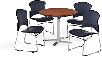 6-Pack OFM Breakroom Table and Chair Package (Cherry/Navy)