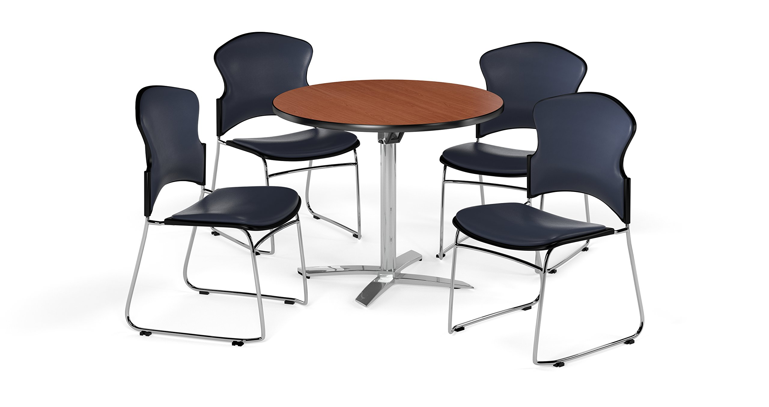 OFM PKG-BRK-053-0004 Breakroom Table and Chair Package, Cherry/Navy (Pack of 6)