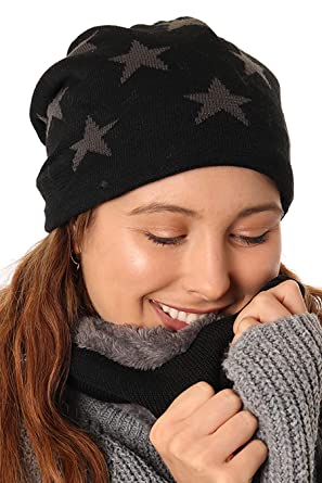 773607b09e6 STYLE SLICE Fleece Lined Hat and Scarf Sets Mens Womens Unisex Star Pattern  - Beanie Circle