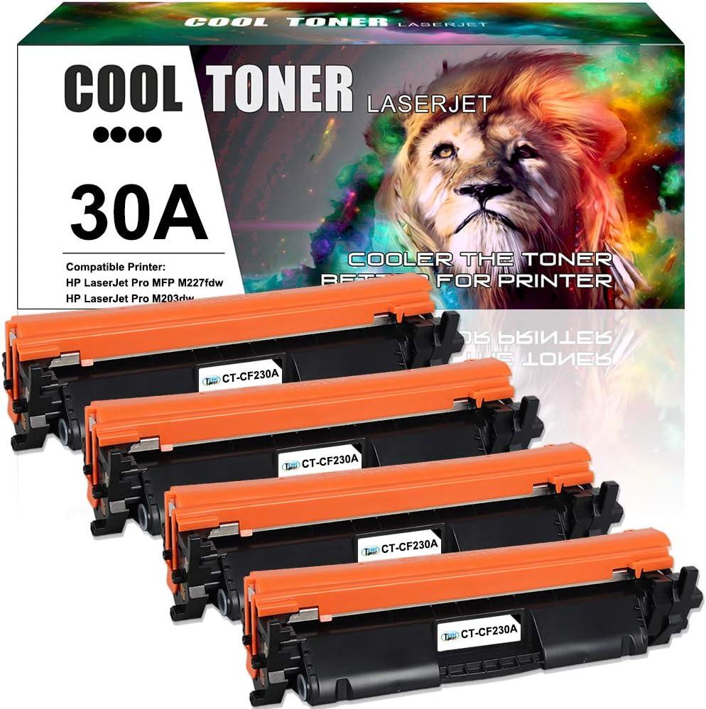 Cool Toner Compatible Toner Cartridge Replacement for HP 30A 30X CF230A CF230X MFP M227fdw Toner HP Laserjet Pro MFP M227fdw M203dw M227fdn M203dn M203d M227sdn M227d M227 Printer Ink (Black, 4-Pack)