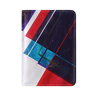 Abstraction Shapes Lines Spots Leather Passport Holder Cover Case Travel One Pocket