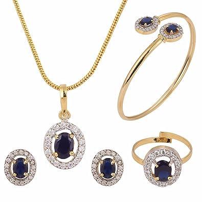 056bcc21ef Amazon.com: Efulgenz Fashion Jewelry Set Halo Oval Cubic Zirconia ...