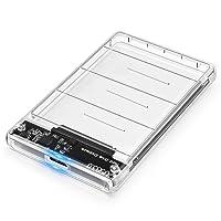 """Carcasa Disco Duro 2.5"""" USB 3.0, Posugear Caja Disco Duro Externo de HDD SSD SATA I/II/III de 7mm 9.5mm de Altura, Sopporta UASP, No requiere Herramientas, Con Cable USB3.0 [Transparente]"""