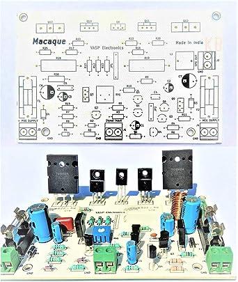 Vasp Electronics DIY - 100 Watt Audio Amplifier Board Using 2SC5200 2SA1943  Transistors Hobby Project - PCB Only - Pack of 2
