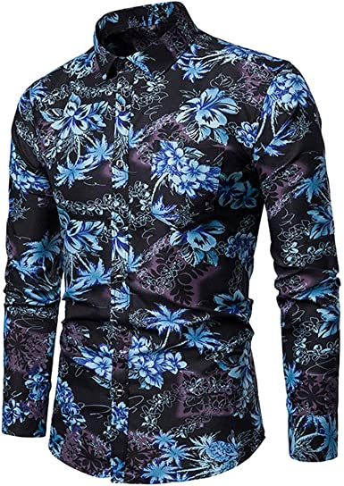 Camisa Hombre Manga Larga Estampada Flor Talla Grande Camiseta Tops Moda Casual Traje Formal Boda Primavera Verano Otoño Invierno: Amazon.es: Ropa y accesorios