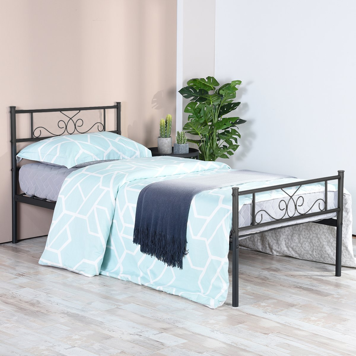 SimLife Twin Size Metal Bed Frame Headboard Footboard Mattress Foundation Platform Bed Kids Adults No Box Spring Support Needed Easy to Put Together Black