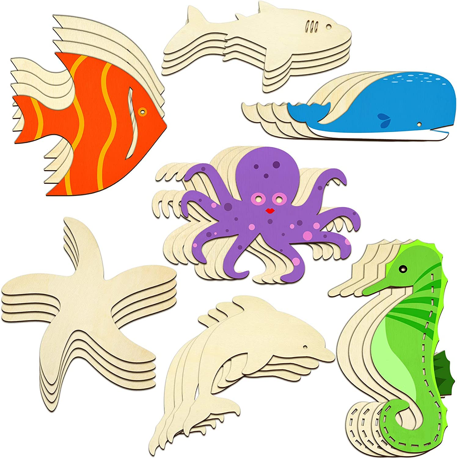 28 Piece Unfinished Wood Cutouts Ocean Animals Wooden Paint Crafts for Kids Home Decor Ornament DIY Craft Art Project, Octopus, Shark, Whale, Dolphin, Seahorse, Fish, Starfish Shape