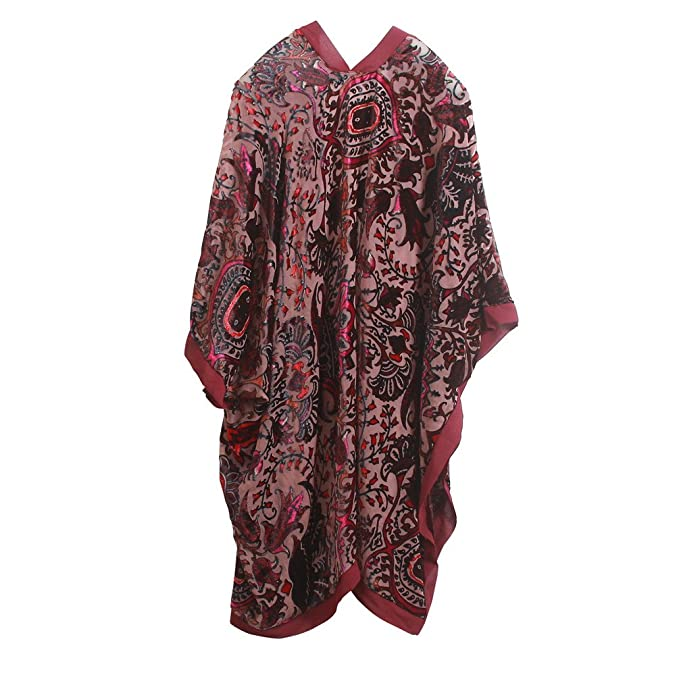 70s Jackets, Furs, Vests, Ponchos Womens Long Burnout Velvet Sleeves Kimono Cardigan with Fringe $36.99 AT vintagedancer.com