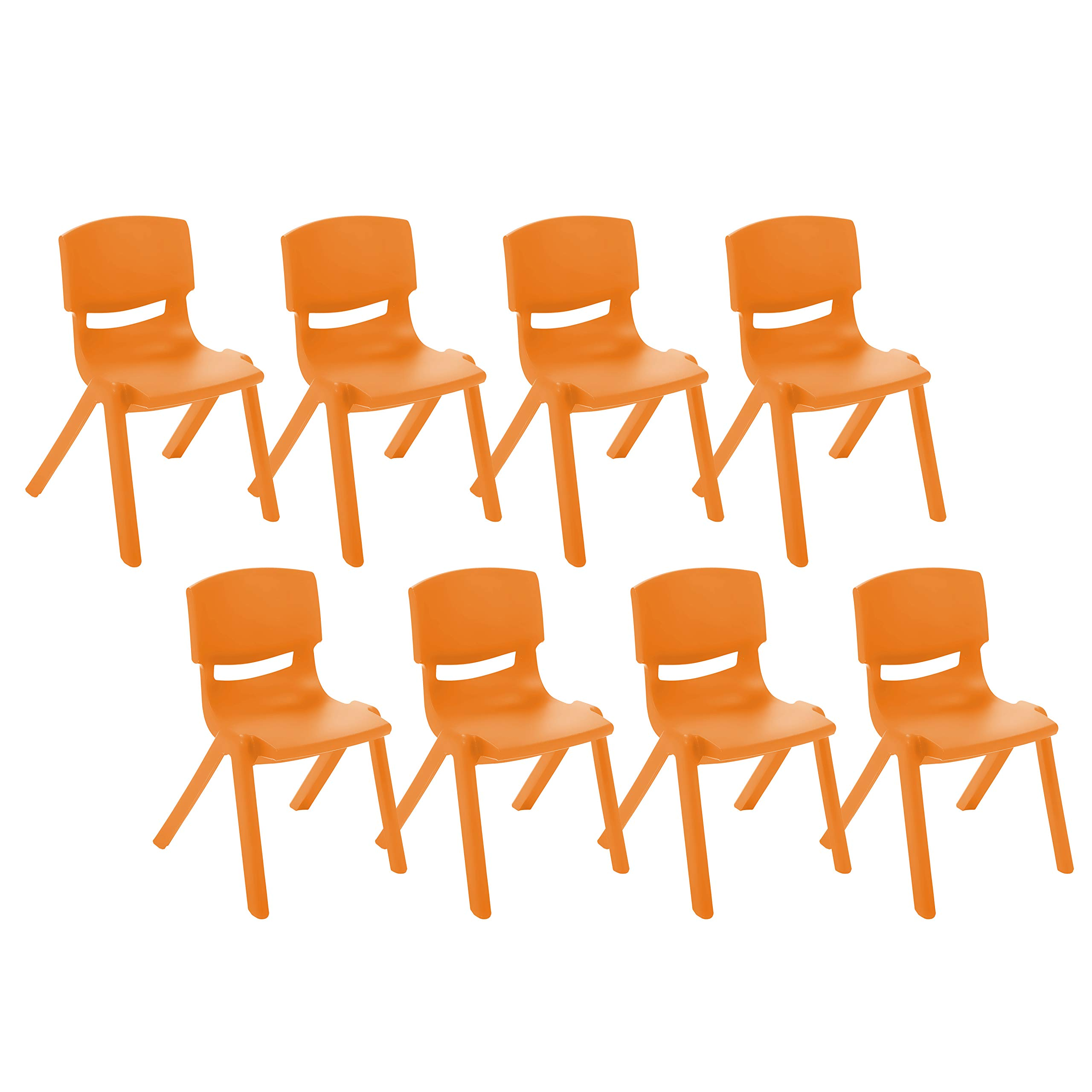 ECR4Kids 14 inch Plastic Stackable Classroom Chairs, Indoor/Outdoor Resin Stack Chairs for Kids, Orange (8-Pack) by ECR4Kids
