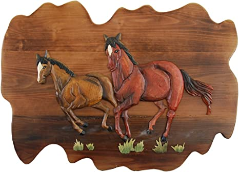 Zeckos Running Horses Hand Crafted Intarsia Wood Art Wall Hanging 26 X 18 X 2 5 Inches Home Kitchen