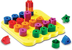 Learning Resources Stacking Shapes Pegboard, Fine Motor Toy, 35 Piece Set, Ages 2+, Multi-color (LER1572)