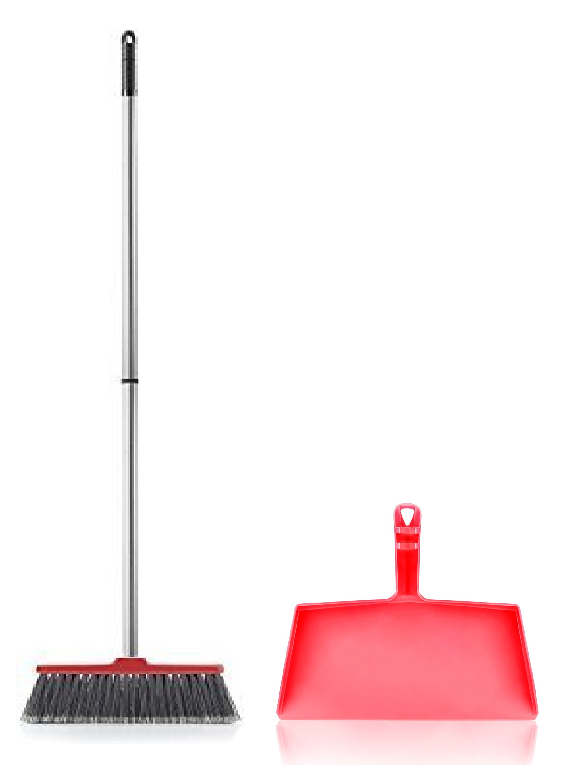 Fuller Brush Fiesta Red Kitchen Complete Broom with Clip On Dustpan by Fuller Brush