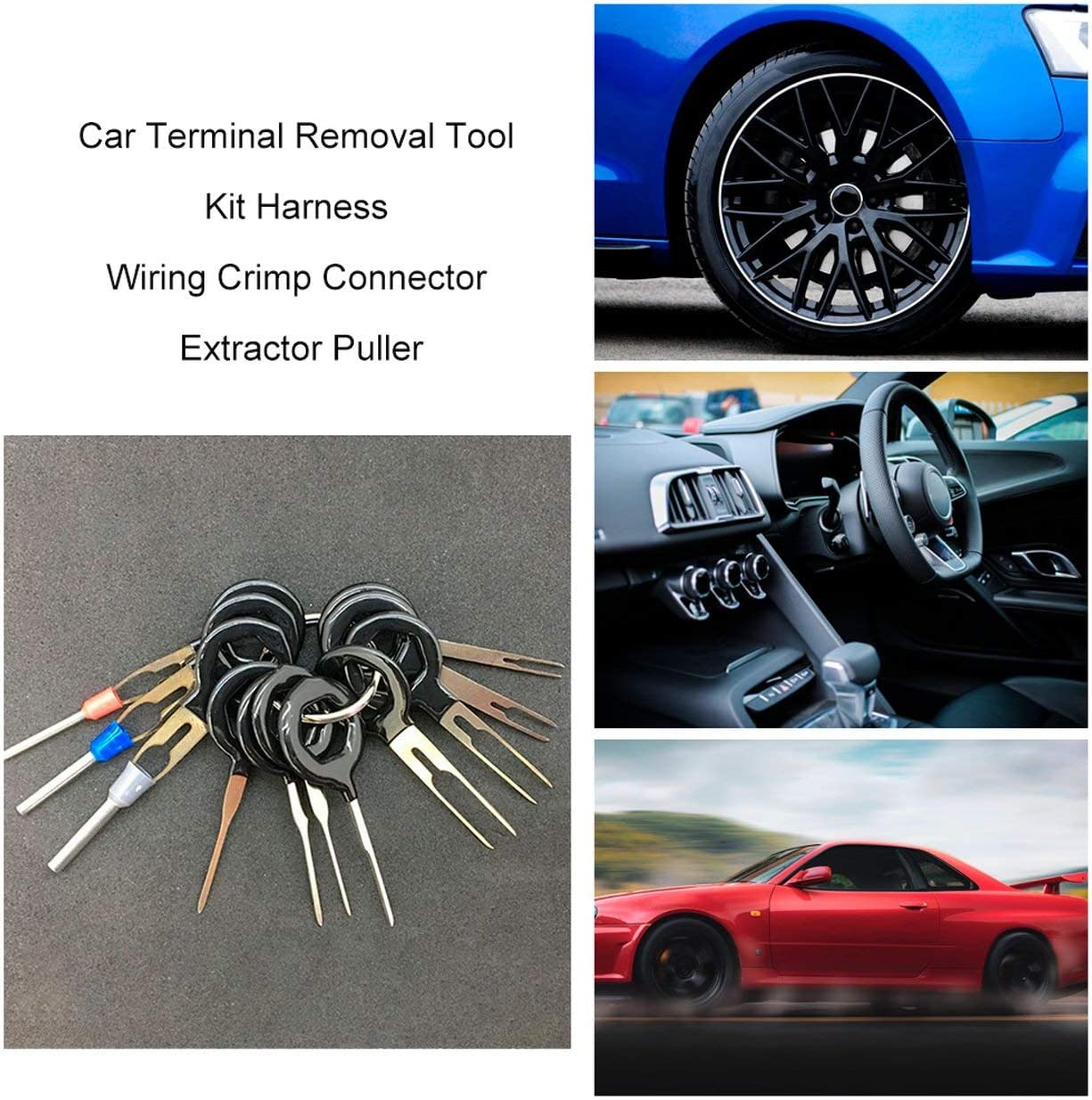 Lorenlli Car Terminal Removal Tool Kit Harness Wiring Crimp Connector Extractor Puller Release Pin Professional Repair Tools