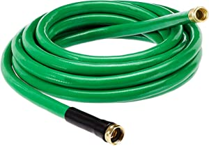 AmazonBasics Garden Tool Collection - Heavy Duty Water Hose with Brass Coupling 25ft, 5/8'', 500psi